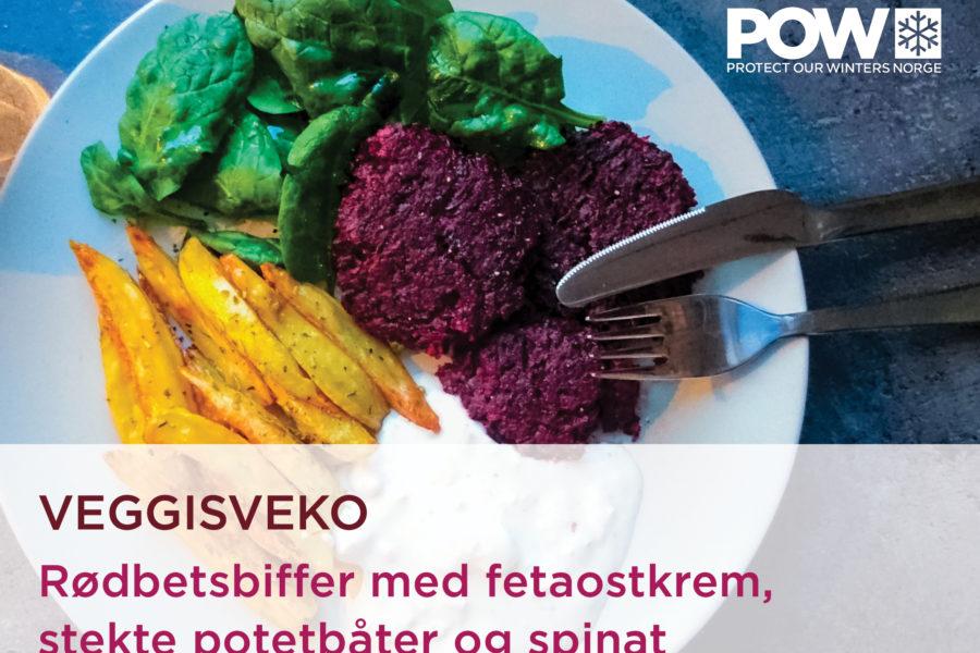 Veggisveko dag #5: Rødbetsbiffer med fetaostkrem, stekte potetbåter og spinat